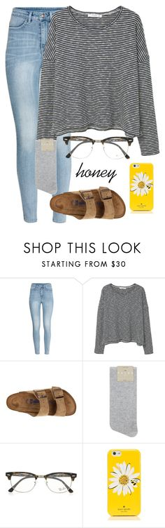 """h o n e y"" by dianaheart on Polyvore featuring H&M, MANGO, Birkenstock, Falke, Ray-Ban and Kate Spade"
