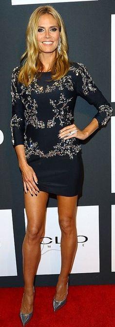 Who made Heidi Klum's black crystal dress and jewelry? Dress – Thomas Wylde  Jewelry – Lorraine Schwartz