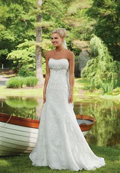 lace a-line strapless with crystal floor-length court train wedding dress - Wegodress.com