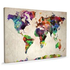 Urban Watercolour Canvas Art Map of the World - Free Australian Delivery – AlsoKnownAs.com.au - Australian Lifestyle Store