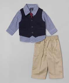 Another great find on #zulily! Khaki Twill Vest Set - Infant, Toddler & Boys by Nautica #zulilyfinds