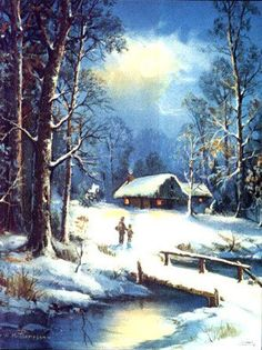 Vintage Landscape - Landscapes - Vintages Cards - Christmas Wallpapers, Free ClipArt for Xmas, Icon's, Web Element, Victorian Christmas Photos and Vintage Santa Claus pictures