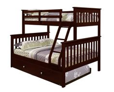 Make the most of it with the Donco Kids Twin Over Full Mission Bunk Bed . With a full/double sized bed on the ground floor and a twin. Bunk Beds With Storage, Wood Bunk Beds, Bunk Beds With Stairs, Kids Bunk Beds, Bed Storage, Storage Drawers, Loft Beds, Twin Full Bunk Bed, Bunk Bed With Trundle