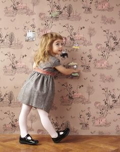 Magnetic Woodlands Wallpaper. Our magical woodlands wallpaper in Brown Pink, create a story on the walls of your home through our magnetic wallpapers.