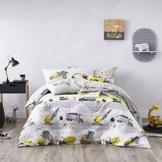 Adairs Kids - Roadworks Quilted Quilt Cover Set - Bedroom - Quilt Covers & Coverlets - Adairs Kids Online