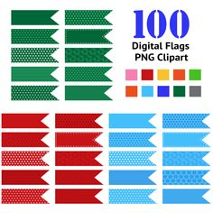 Digital Flags - Tape Pieces Clipart - Clip art for scrapbooking, instant download for personal and commercial use - pinned by pin4etsy.com