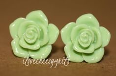 SPRING GREEN ROSE~ Earrings, Cabochon earrings, flower earrings, rose earrings, wedding jewelry, brides maid, wedding, ilovecheesygrits