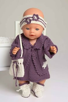 Ideas baby born stricken doll clothes for 2019 Knitting Dolls Clothes, Knitted Dolls, Doll Clothes Patterns, Baby Knitting, Crochet Baby, Knit Crochet, Girl Dolls, Baby Dolls, Baby Born Clothes