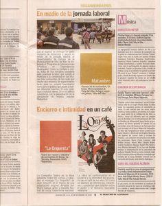 Cantata en El Mercurio de Valparaíso