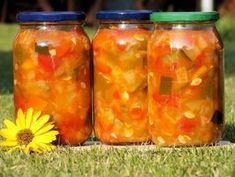 Kolorowe leczo do słoików Salsa, Mason Jars, Cooking Recipes, Ethnic Recipes, Food, Canning, Eggplant, Soups And Stews, Stew