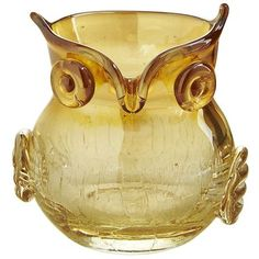 Amber Crackle Owl Votive Holder I have one of these..thanks Sue!