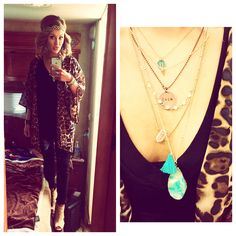 Layered necklaces and leopard print. Favorite things