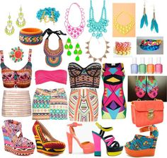 """neon aztec tribal jungle"" by haazeelnut on Polyvore"