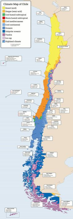 Köppen-Trewartha climate map of Chile and cities with similar climate.