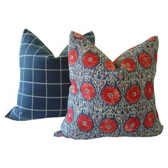 Red and Navy Pillow ($41) ❤ liked on Polyvore featuring home, home decor, throw pillows, navy blue toss pillows, navy blue accent pillows, floral home decor, red floral throw pillows and dark blue throw pillows