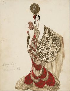 George Barbier - c. 1910 - Golden Comb with the Effigy of King Alfonso XII of Spain
