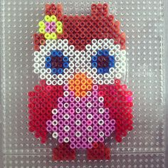 Owl hama perler beads by jojojanneke Perler Bead Designs, Diy Perler Beads, Perler Bead Art, Pearler Beads, Pixel Beads, Fuse Beads, Pearler Bead Patterns, Perler Patterns, Christmas Perler Beads
