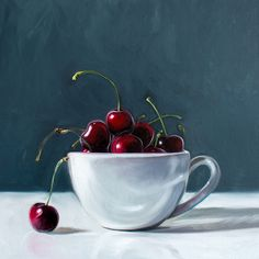 This artwork features a cappuccino cup filled to the brim with bright red cherries. A single cherry has seemingly fallen overboard and looks up towards the rest of his mates! Realistic Oil Painting, Painting On Wood, Painting Prints, Cappuccino Cups, Coffee Cups, Paintings For Sale, Original Paintings, Kitchen Art, Contemporary Artists