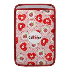 Design Inspired by vintage shabby chic fabric prints with ditsy red roses and sweet red love hearts on a pink and white polka dot, such a cute girly look. Don't forget to customize it with a name or monogram for that special personal touch.