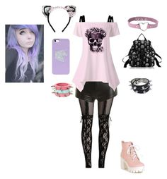 """pastel goth"" by tiffdanielle ❤ liked on Polyvore featuring MAISON MICHEL PARIS"