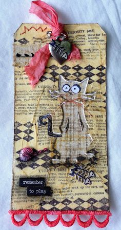 sarascloset: 12 Tags of 2016-Technique Remix June-Tissue Wrap Collage-Stencil Plaid