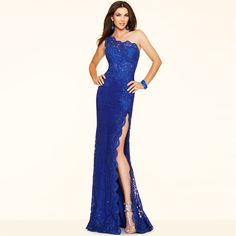 1dc632e2934e Click to Buy    Cheap Lace Mermaid Evening Dress One Shoulder Side Slit