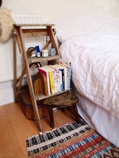 Unique Side Table Ideas diy nightstand - 5 you can make | stools, vintage ladder and plants