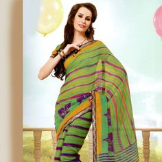 Green Super Net Saree with Blouse