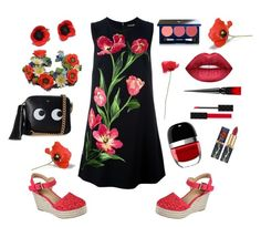 """Poppy Time"" by siriusfunbysheila1954 ❤ liked on Polyvore featuring Dolce&Gabbana, Skechers, Christian Louboutin, Gucci, Vapour Organic Beauty, Dreamgirl, Marc Jacobs and Anya Hindmarch"