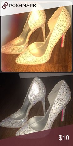 Glam High heels Sparkly, white, rhinestones, beautiful, never worn. Size 7.5 and has a heel of 4.5 inches tall stiletto point heel. Charlotte Russe. Charlotte Russe Shoes Heels