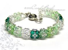 Crystal Bracelet, Green Shade Swarovski Bracelet by CandyBead