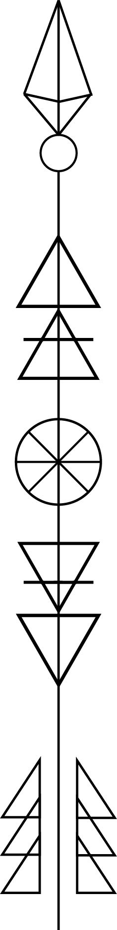 Geometric Arrow. I found the basic design on Pinterest and then added my own flair to it to fit me. The triangles in the middle of the shaft represent the four elements: Air, Fire, Water, and Earth, respectively. The eight-spoked circle in the center represents the Wheel of Life. The arrow itself represents how an arrow can only be shot forward by being pulled back, so that in life, you must remember that you sometimes have to go backward to go forward again. For my left inner forearm.