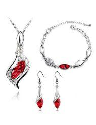 HSG Fashion Red Color Necklace Earring Bracelets Jewelry Set for Women @ dailyjewelryessentials.com