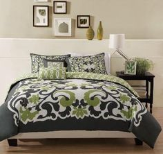 gray and green scroll bedding, gray and sage scroll bedding, scroll bedding, scoll duvet