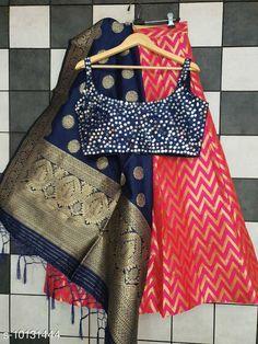 Lehengas Classy Stylish Banarasi Jacquard Silk Women's Lehenga Vol 14 Topwear Fabric: Silk Bottomwear Fabric: Banarasi Jacquard Silk Dupatta Fabric: Banarasi  Silk Set type: Choli And Dupatta Top Print or Pattern Type: Banarasi Silk Bottom Print or Pattern Type: Weaving Work Dupatta Print or Pattern Type: Zari Work Sizes:  Semi Stitched (Blouse Size: Up To 40 In  Lehenga Waist Size: Up To 44 in Lehenga Length Size : Up To 40 In Dupatta Size:  2.25 Mtr) Country of Origin: India Sizes Available: Free Size, Semi Stitched   Catalog Rating: ★4.3 (469)  Catalog Name: Classy Stylish Banarasi Jacquard Silk Women's Lehenga Vol 14 CatalogID_1823060 C74-SC1005 Code: 3711-10131444-5223