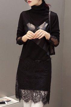 Stylish Turtleneck Long Sleeve Patch Lace Women's PU Spliced Dress