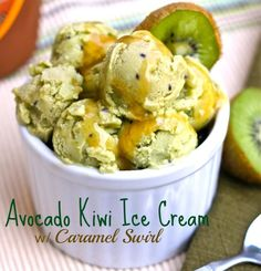 Avocado Kiwi Ice Cream. Refreshing and amazing delicious. This was quite fun to make! www.lorisculinarycreations.com
