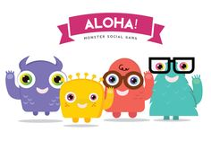 Check out ALOHA! Monster Logo Template by Super Pig Shop on Creative Market