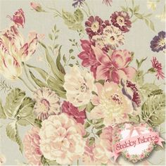 Mary Rose Grace 2140-11C by Quilt Gate Fabrics: Mary Rose Grace is a shabby style collection from Quilt Gate Fabrics.  100% cotton, 43/44 wide.  This fabric features a large rose floral bouquet on a light blue background.  Please note, the image shown represents about 8 x 8 of the fabric.