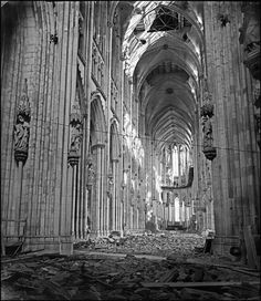 Rubble litters the interior of the Cathedral. Cologne, Germany. 1946. Photographer: Werner Bischof