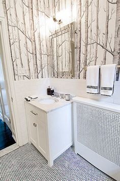 small bathroom cole & sons wallpaper-- I've seen this wall paper used in Once Upon a Time for the wicked queen's office as mayor it is a beautifully designed room.