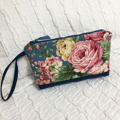 Cottage Rose Clutch Wristlet, Pink Roses Yellow Rose Garden, Shabby chic, Midnight Blue cloth Purse bag with zipper, LizBagz by LizBagz on Etsy