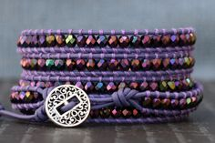 wrap bracelet peacock purple metallic czech by CorvusDesign, $55.00
