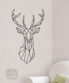 Tête de cerf géométrique sticker Stickers danimaux par LivingWall