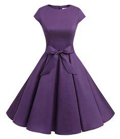Dressystar Women Vintage Retro Rockabilly Prom Dresses Cap-Sleeve XL Purple - Purple Dresses - Ideas of Purple Dresses Vintage Outfits, Vintage 1950s Dresses, Vintage Inspired Dresses, Retro Dress, Vintage Fashion, Prom Dresses 2017, Short Dresses, Wedding Dresses, Mini Dresses