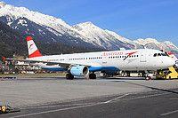Austrian Airlines Airbus A321-211 OE-LBF aircraft, named ''Wien'', parked at Austria Innsbruck Kranebitten International Airport. 07/03/2015.