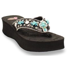 9bc3370b3002d9 Justin Carly Turquoise Cross Flip Flops available at  Sheplers Bling Sandals