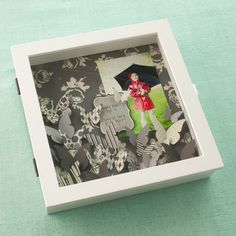 Paper Reverie Shadow Box - Here is a fun idea for a quick home decor project. Use  Paper Reverie paper butterflies to fill a shadow box, with photo and any journaling you might want to add.