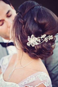 Wedding hair style with a hidden braid
