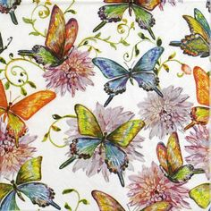 4 Single Party Paper Napkins for Decoupage Decopatch Craft Butterfly World White | eBay